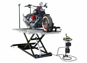 New Titan 1500 Lbs Electric Hydraulic Motorcycle Lift W Front Side Extensions