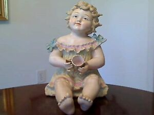 Vintage Andrea Large Porcelain Bisque Piano Baby Holding Cup Numbered 1119