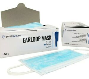 3 ply Blue Dental Surgical Medical Ear loop Face Mask Disposable Case Of 1000