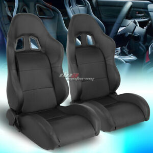 Pair Of Full Reclinable Black Xl 06 Pvc Leather Sporty Bucket Race Racing Seat