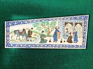 Vintage Persian Miniature Painting In Micro Mosaic Wooden Frame Signed