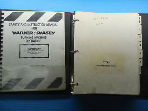 Warner Swasey Titan Turning Machine User Maintenance Manual Component Info