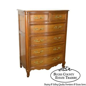 Kindel French Louis Xv Style Vintage Fruitwood Tall Chest