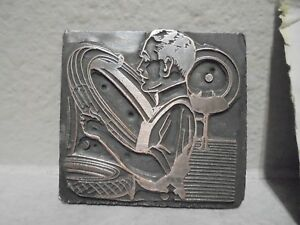 Vintage Letterpress Printing Block Plate Man Working In Tire Shop Treading Tire