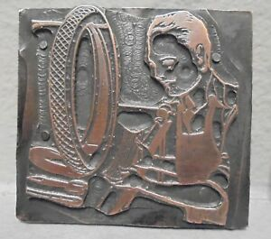 Vintage Letterpress Printing Block Plate Man Patching Tire In Tire Shop