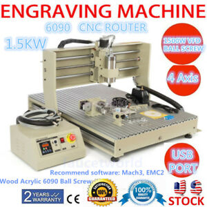 4axis Usb 6090 1500w Vfd Cnc Router Metal Wood Acrylic Engraver Drilling Milling