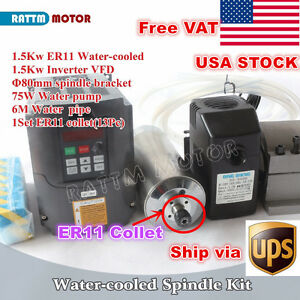 us 1 5kw Water Cooled Spindle Motor Er11 1 5kw Vfd Inverter 220v clamp pump Cnc