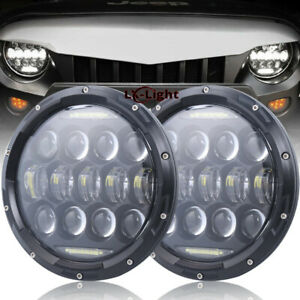 Black Pair 7 Round 75w Led Projector Headlights Drl For Jeep Wrangler Jk Tj Cj