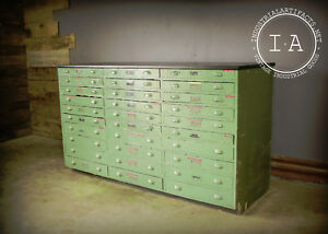 Vintage Industrial 30 Drawer Green Wooden Parts Cabinet Counter Flat File