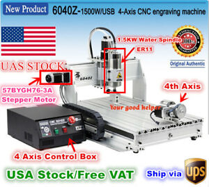 usa 6040 4 Axis Usb Mach3 1 5kw 1500w Cnc Router Engraving Milling Machine 110v