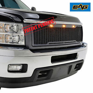 11 14 Chevy Silverado 2500 3500 Mesh Grill Grille W Led Light Raptor Style Gray