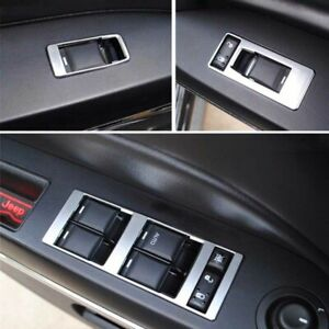 4pcs Chrome Inner Door Window Switch Regulator Cover Trim Fit For Jeep Patriot