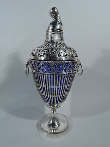 Antique Urn Edwardian Neoclassical Covered Vase German Sterling Silver