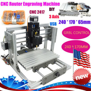 Diy3axis Usb Desktop Cnc 2417 Mill Router Kit Metal Engraver Pcb Milling Machine