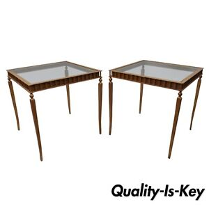 Pair Of Gold Neoclassical Hollywood Regency Style Side End Tables Metal