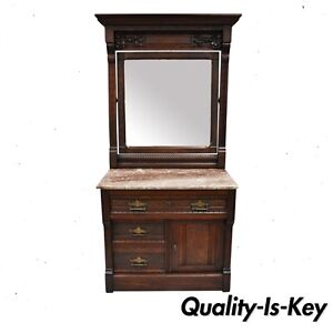 Victorian Eastlake Burl Walnut Marble Top Wash Stand Dresser Chest With Mirror