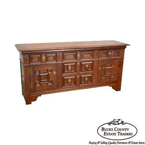 Baker Jacobean Style Cherry Star Inlaid Sideboard