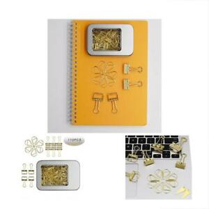 100 Pcs Paper Clips And Binder Assorted Size Gold With Storage Case