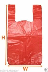 Orange Red Large Plastic Shopping T shirt Grocery Store Bags 11 5 X 6 5 X 21 1 6