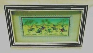 Antique Estate Found Persian Miniature Painting Playing Polo In Khatam Frame