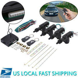 Universal Car Central Power Door Lock W Unlock Remote Kit Keyless Entry