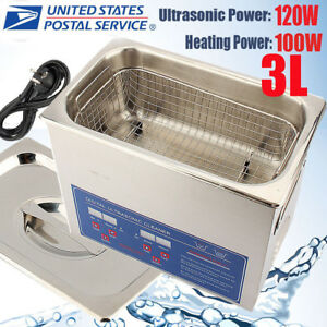 3l Ultrasonic Heated Cleaner Stainless Steel Liter Industry Heater W timer Us