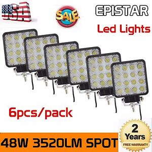 6x 48w Led Offroad Work Light Spot Lamp 12v 24v Boat 4wd Jeep Truck Driving Ute