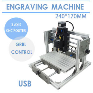 Mini Diy Usb Cnc 2417 Mill Router Kit Desktop Metal Engraver Pcb Milling Machine