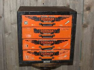 Vintage Dorman 4 Drawer Industrial Metal Advertising Cabinet Garage Display