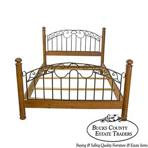 Mt Airy Pine Wrought Iron Queen Size Bed