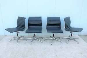 Herman Miller Eames Aluminum Group Side Chairs Set Of Four In Gray Leather 1958