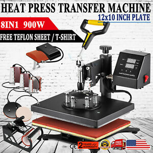 8 In 1 Digital T shirt Heat Press 12x10 Sublimation Transfer Machine