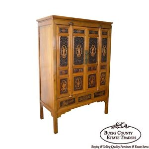 Antique Asian Chinese Hardwood Large 4 Door Cabinet