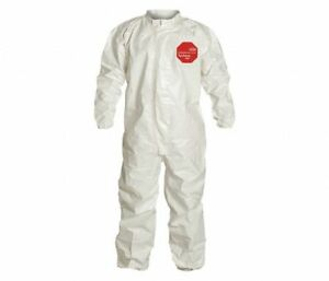 Case Of 6 Dupont Tyvek Tychem 4000 Sl125t Disposable Coverall Bunny Suit M White