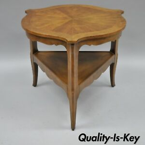 Vintage Baker Furniture French Country Provincial Side Lamp Table Walnut Tripod