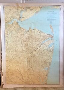 Vintage Monmouth Shore New Jersey Large Wall Map Circa 1889