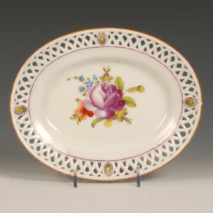 A Russian Gardner Factory Oval Porcelain Serving Plate With Reticulated Border