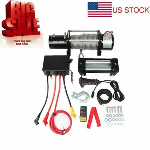 12000lbs 12v Electric Heavy Duty Recovery Winch Car Wireless Remote Control Set