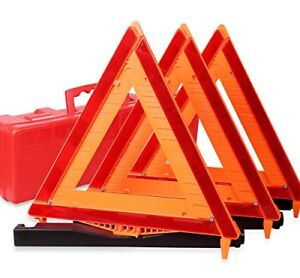 Warning Triangle Dot Approved 3pk Reflective Warning Road Safety Triangle Kit