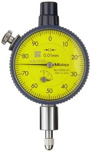 New Mitutoyo Dial Indicator 0 2 5mm 0 01mm 41mm Rotating Dial Lug Back