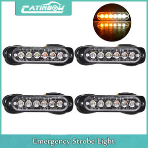 4pcs 6 Led Light Flash Emergency Car Truck Warning Strobe Flashing Amber White