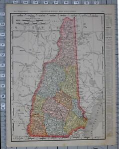 1906 Map United States New Hampshire Cities Counties Grafton Carroll Merrimack