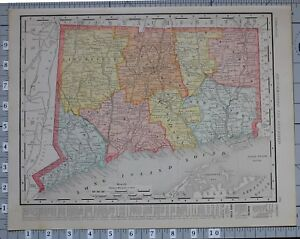 1906 Map United States Connecticut Counties Cities Fairfield New Haven Hamden