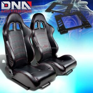 For 99 04 Ford Mustang Sn 95 Bracket Type 1 Black Pvc Racing Seat Reclinable X2