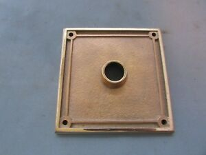 Vtg Brass Door Knob Back Plate 4 X 4 Square Bronze Yale Art Deco