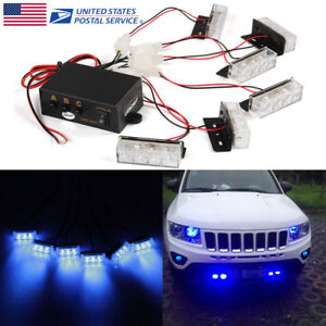 Car 6x 3 Leds Blue Strobe Emergency Flashing Police Warning Lamp Grill Light Tsm