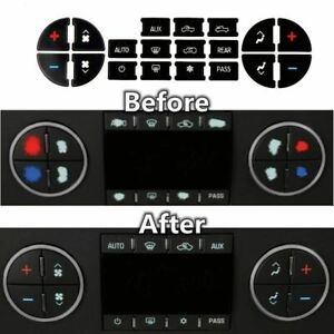 Ac Dash Button Repair Kit Dual Climate Control Decal Stickers For Gm Suv Trucks
