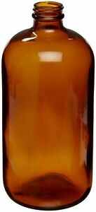 Case Of 12 Wheaton 220926 Amber Glass Safety Coated Boston Round Bottle 32oz