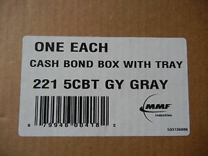 Mmf Industries Steel Cash Box With Tray 2215cbtgy Gray