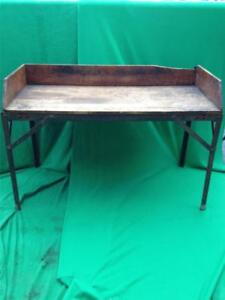 Vintage Wooden Wood Steel Workbench Work Table Bench 57 X 38 Littlestown Vise